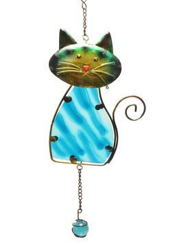 Fensterbild • Wandbild Katze blau