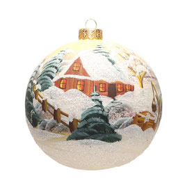 Fensterkugel 150mm Weihnachtskugel handbemalt WEISS SATIN