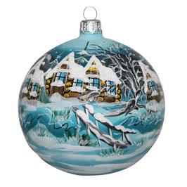 Fensterkugel 100mm Weihnachtskugel handbemalt HAUS IM WINTER
