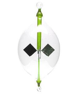 Lichtmühle | Radiometer Olive hängend mit grüner Einschmelzung