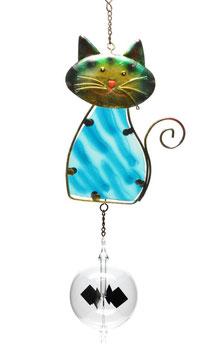 Lichtmühle • Radiometer 80mm mit Fensterbild Katze blau