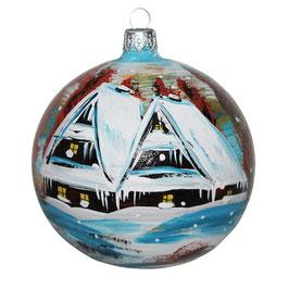 Fensterkugel 100mm Weihnachtskugel handbemalt HAUS IM SCHNEE