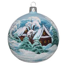 Fensterkugel 100mm Weihnachtskugel handbemalt HAUS IM WINTERWALD