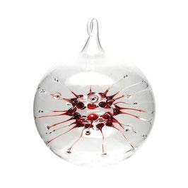 Spinnenkugel • Glaskugel klar/rot