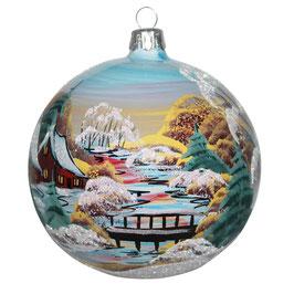 Fensterkugel 100mm Weihnachtskugel handbemalt HAUS AM FLUSS