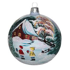 Fensterkugel 100mm Weihnachtskugel handbemalt KINDER IM WINTER