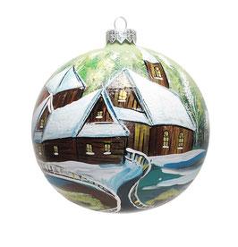Fensterkugel 100mm Weihnachtskugel handbemalt KIRCHE AM SEE