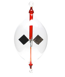 Lichtmühle | Radiometer Olive hängend mit roter Einschmelzung