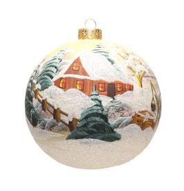 Fensterkugel 120mm Weihnachtskugel handbemalt WEISS SATIN