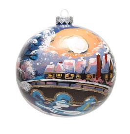 Fensterkugel 120mm Weihnachtskugel handbemalt MONDSCHEIN