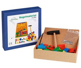 Nagelspiel Holznagelspiel mit Hammer und Nägeln
