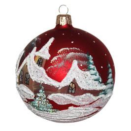 Fensterkugel 100mm Weihnachtskugel handbemalt HAUS IM SCHNEE ROT