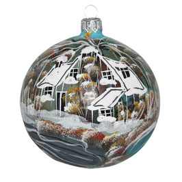 Fensterkugel 100mm Weihnachtskugel handbemalt HAUS AM SEE