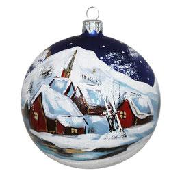 Fensterkugel 100mm Weihnachtskugel handbemalt BERGWELT IM WINTER