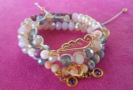 """""""Jade"""" Perlenarmbänder mit Swarovski Steinen, Engelsflügeln, Zwischenstück Kristallglas lang oval Aqua blue opal-gold, Quasten"""