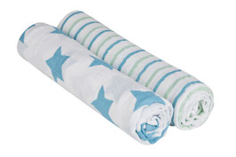 Mulltücher (2 Stk) - Swaddle & Burp Blanket XL, Stars & Stripes