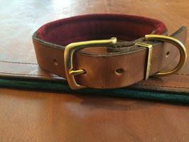 Padded Plain Leather Dog Collar