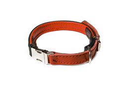 20mm Leather Collar for medium breeds Black/Red