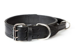 50mm Leather Tactical military dog collar with handle, Black