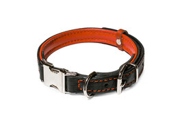 25mm Leather Collar Black and Red, Adjustable