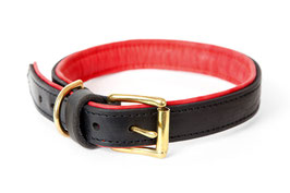25mm Leather Collar Black - Red, solid brass
