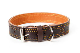 Brown leather collar, Adjustable