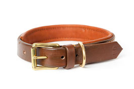 30mm Brown leather collar Comfort, solid brass