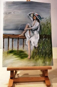 Weißes Mädchen am See