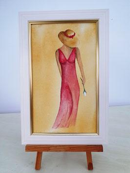 Geheimnisvolle Frau in Rot