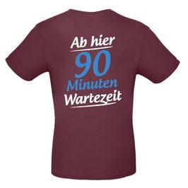 """T-Shirt """"Wartezeit"""" (burgund, deutsch)"""