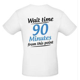 """T-Shirt """"Wartezeit"""" (weiß, englisch)"""