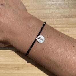 Bracelet argenté Spinelle 2mm, REF: BA11-17