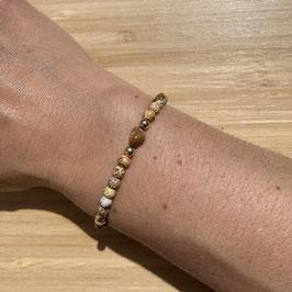 Bracelet doré Jaspe paysage 4mm, REF: BD23-02