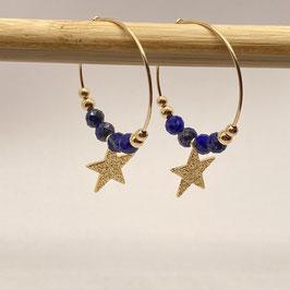 Boucles dorées Lapis Lazuli, REF: BOD12-02
