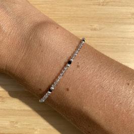 Bracelet argenté Labradorite 2mm, REF: BA10-05