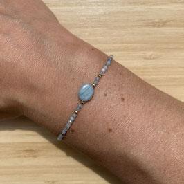 Bracelet doré Aigue marine 2mm, REF: BD03-03