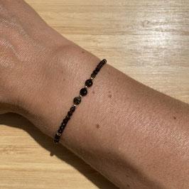 Bracelet doré Obsidienne dorée 2mm, REF: BD66-01