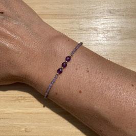 Bracelet doré Amethyste 2mm, REF: BD55-01