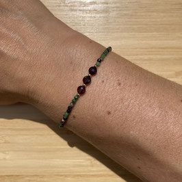 Bracelet doré Rubis zoisite 2mm, REF: BDF48-01
