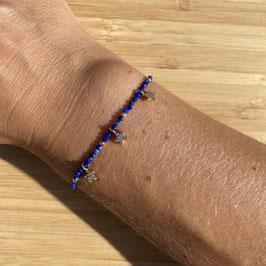 Bracelet doré Lapis Lazuli 2mm, REF: BD10-10
