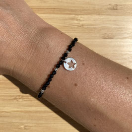 Bracelet argenté Spinelle 3mm, REF: BA13-07