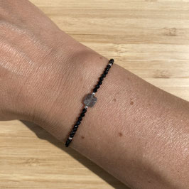 Bracelet argenté Spinelle 2mm, REF: BA11-10