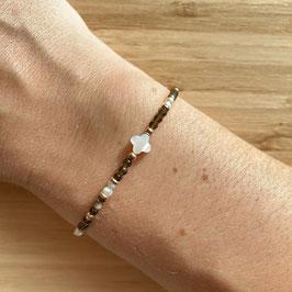 Bracelet doré Obsidienne dorée et perles de culture 3mm, REF: BD71-01