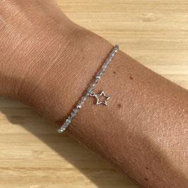 Bracelet argenté Labradorite 2mm, REF: BA10-03