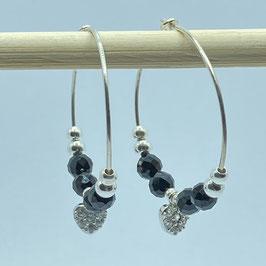 Boucles argentées Spinelle, REF: BOA03-03