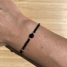 Bracelet argenté Spinelle 3mm, REF: BA13-05