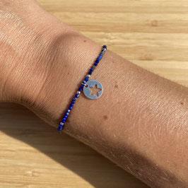 Bracelet argenté Lapis Lazuli 2mm, REF: BA06-07