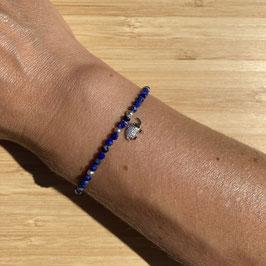 Bracelet argenté Lapis Lazuli 3mm, REF: BA08-01