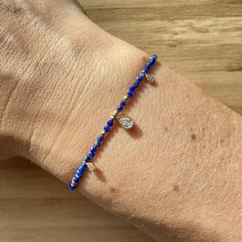 Bracelet doré Lapis lazuli 2mm, REF: BD10-07
