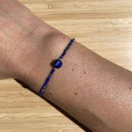 Bracelet doré Lapis Lazuli 2mm, REF: BD10-02